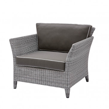 Durable and elegant garden armchair in french grey with UV resistant cushions and pale grey offset piping on a white background