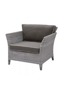 Durable and elegant rattan garden armchair in French grey with UV resistant cushions on a white background