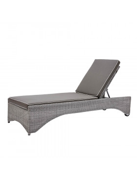Rattan sun lounger with French grey UV resistant cushions  side view on a white background