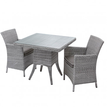 Two seater Grey rattan garden table and chairs on a white background