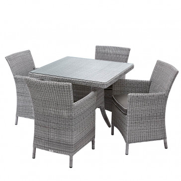 Four seater Grey rattan garden table and chairs on a white background