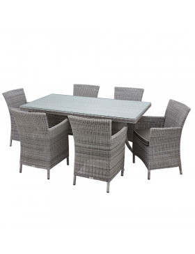 Six seater Grey rattan garden table and chairs on a white background
