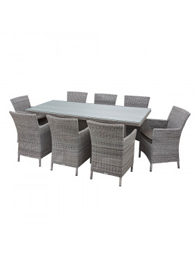 Eight seater Grey rattan garden table and chairs on a white background