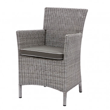 Grey rattan dining chair. On a white background