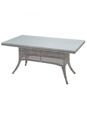 Six seater Grey rattan garden table on a white background