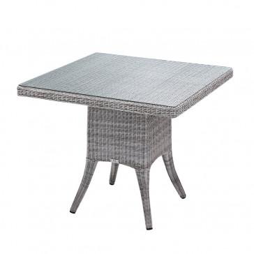 Four seater Grey rattan garden table on a white background