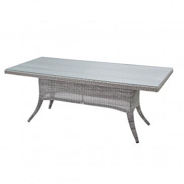 Eight seater Grey rattan garden table on a white background