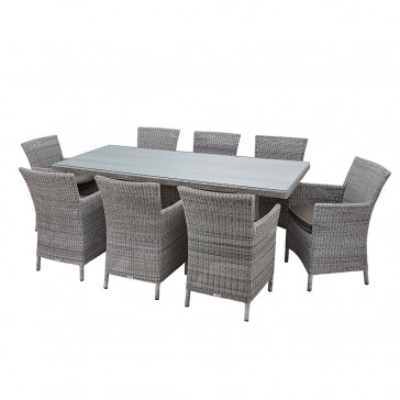 Eight seater grey rattan garden table and chairs on white background