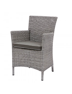 Grey rattan dining chair on white background