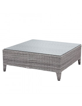 Oceane garden coffee table with tempered glass top French grey rattan pictured on white background