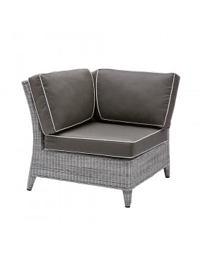 Oceane corner modular piece in French grey with quick drying cushions pictured on white background