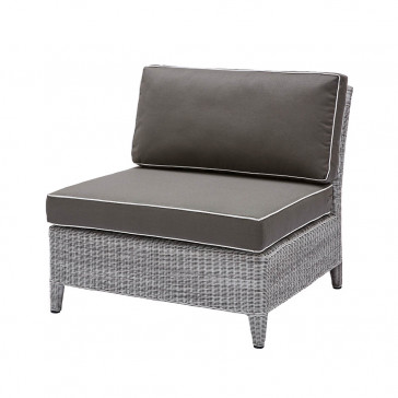 Oceane mid section modular piece French grey rattan pictured on white background
