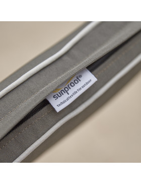 French Grey all weather cushion with pale grey piping, label and zip