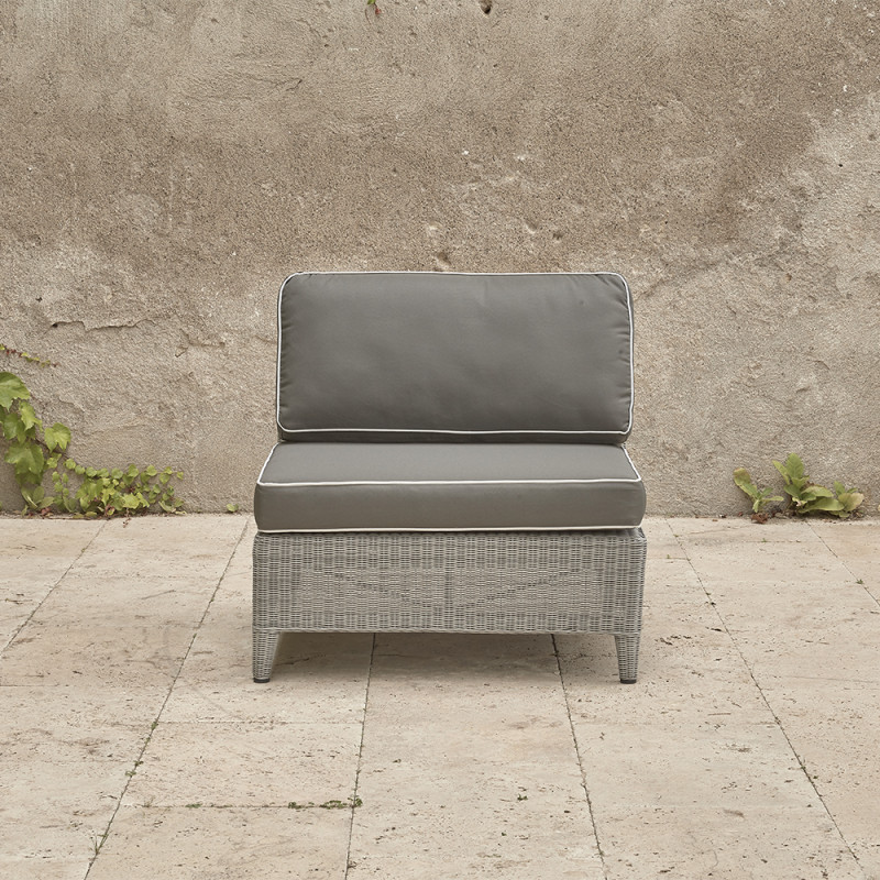 Oceane mid section. French grey rattan pictured on Southern French terrace. Pictured from the front