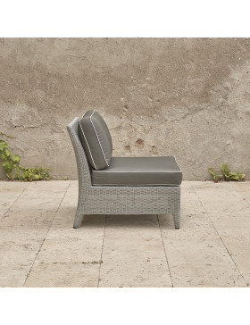 Oceane mid section. French grey rattan pictured on Southern French terrace. Pictured from the side