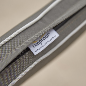 UV protected, quick drying cushions in French grey with pale grey offset piping