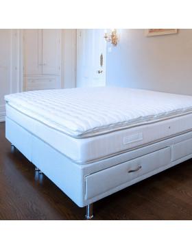 Mattress Topper on bed with mattress and divan base