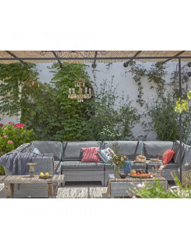 L- shaped modular garden furniture set in French grey with footstool and corner coffee table in Southern French garden