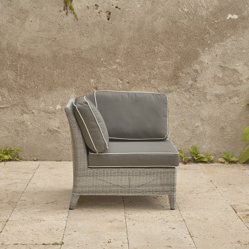 Oceane corner piece in French grey with quick drying cushions pictured on french terrace
