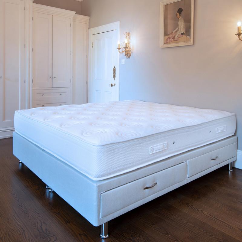 luxury Mattress on divan base in bedroom with built in wardrobe