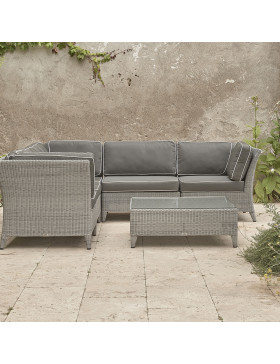Standard size lounge set product shot with coffee table on Southern French terrace