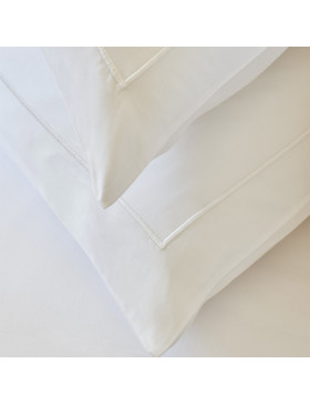 Close up of two Crisp white pillow cases