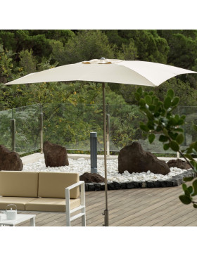 square parasol open on forest background
