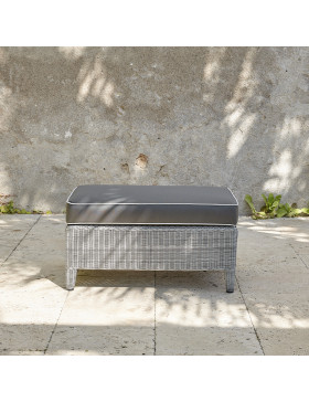 Oceane footstool with cushion top. High quality rattan, French grey.