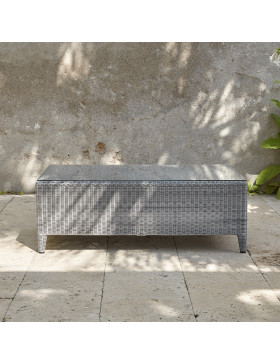 Coffee table with glass top on southern French Terrace